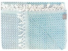 sprei tweepersoons grafisch jaquard off white/ ocean blue