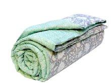 deken quilt eenpersoons blockprint -grijs-emerald-bloem